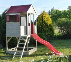 Casa de Aventuras de madera para niños con plataforma para exterior
