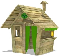 Casita de juego HippoHouse Heavy XXL con techo de madera, chimenea y mostrador
