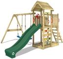 Parque infantil de madera con columpio y tobogán