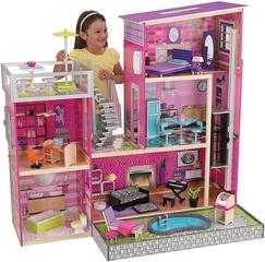 KidKraft- Casa de muñecos Uptown de madera con muebles y accesorios