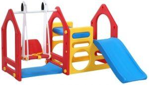 Casa de Juegos para niños y niñas con Tobogán, Columpio y Paneles de Escalada